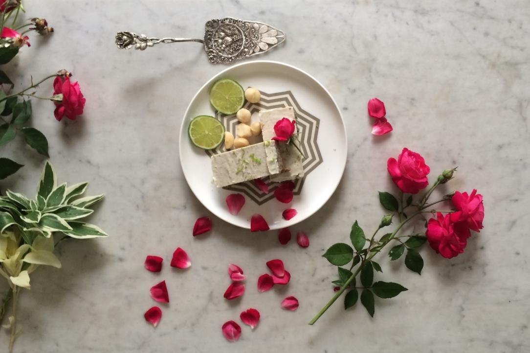 Raw gluten free dessert macadamia lime